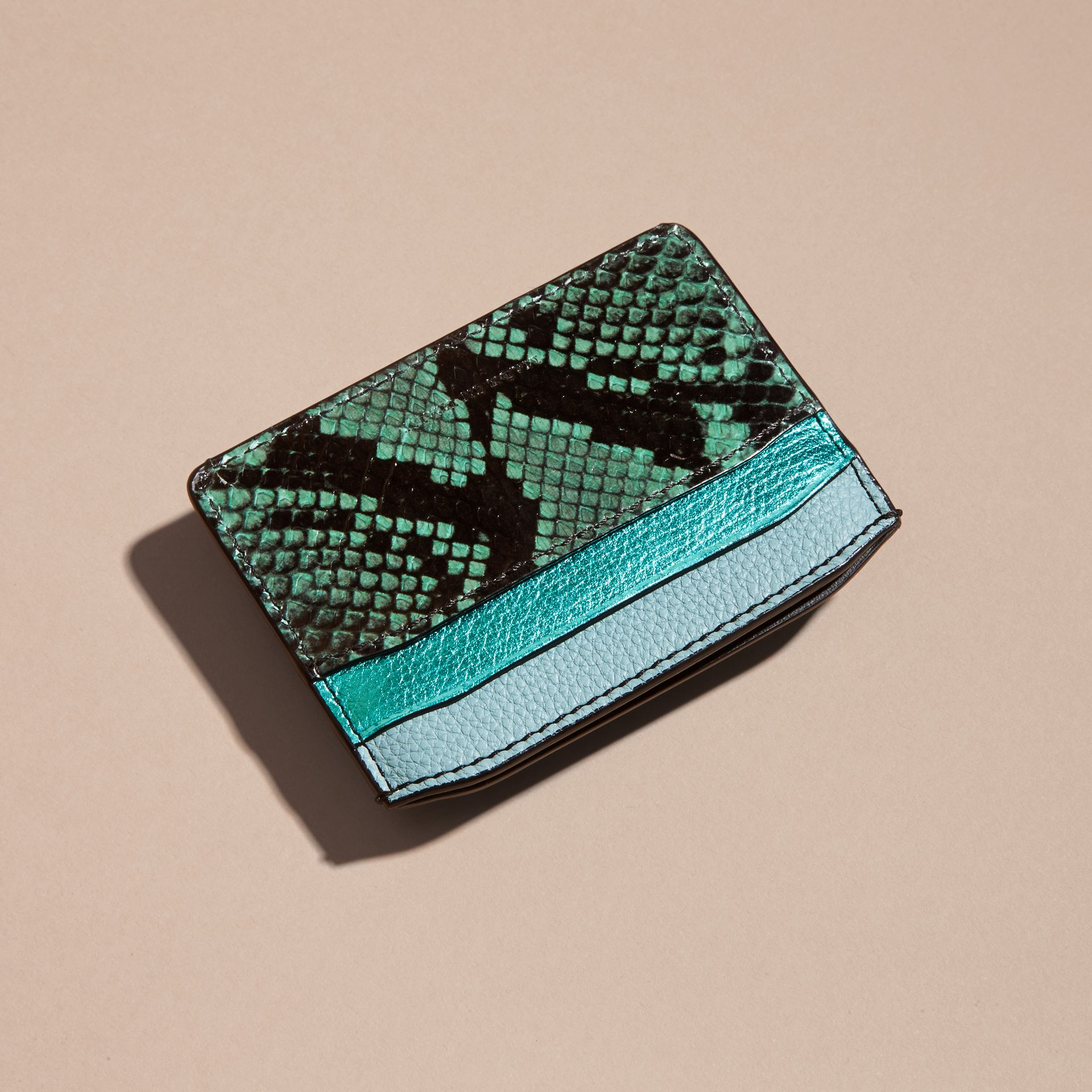 Light mint Colour Block Leather and Snakeskin Card Case Light Mint - gallery image 4