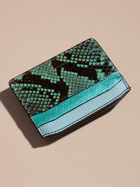 Light mint Colour Block Leather and Snakeskin Card Case Light Mint - cell image 3