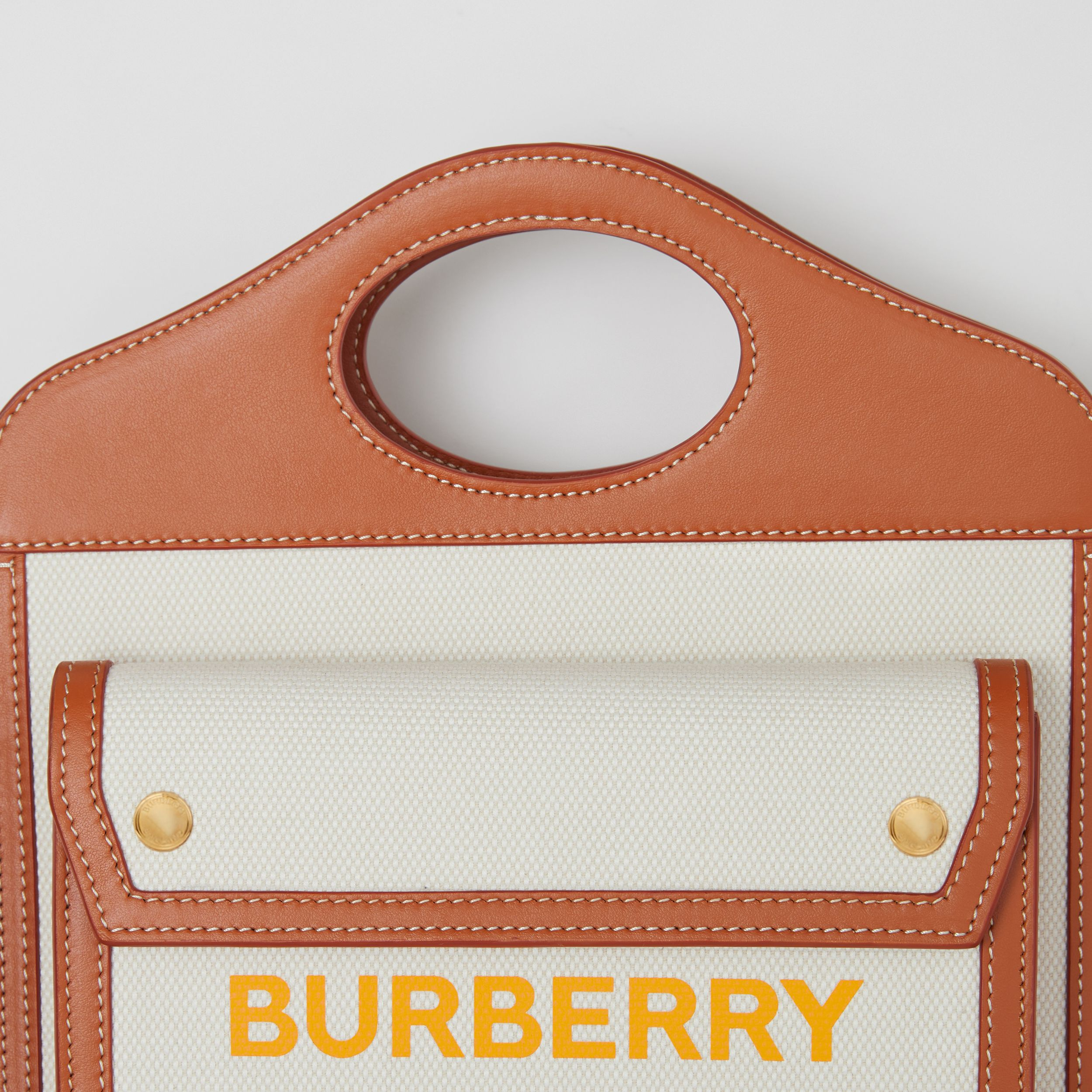 Mini Two-tone Canvas and Leather Pocket Bag in Natural/dark Amber - Women | Burberry - 2