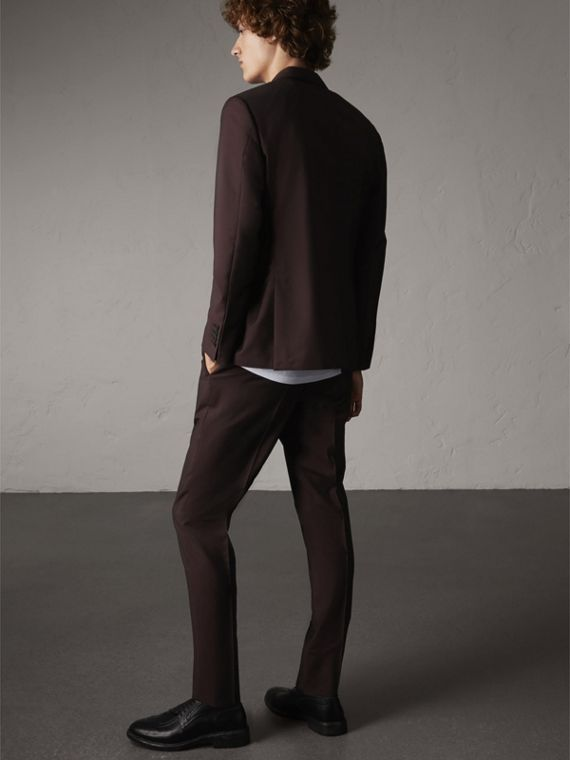 Slim Fit Wool Mohair Suit in Chestnut Brown - cell image 2