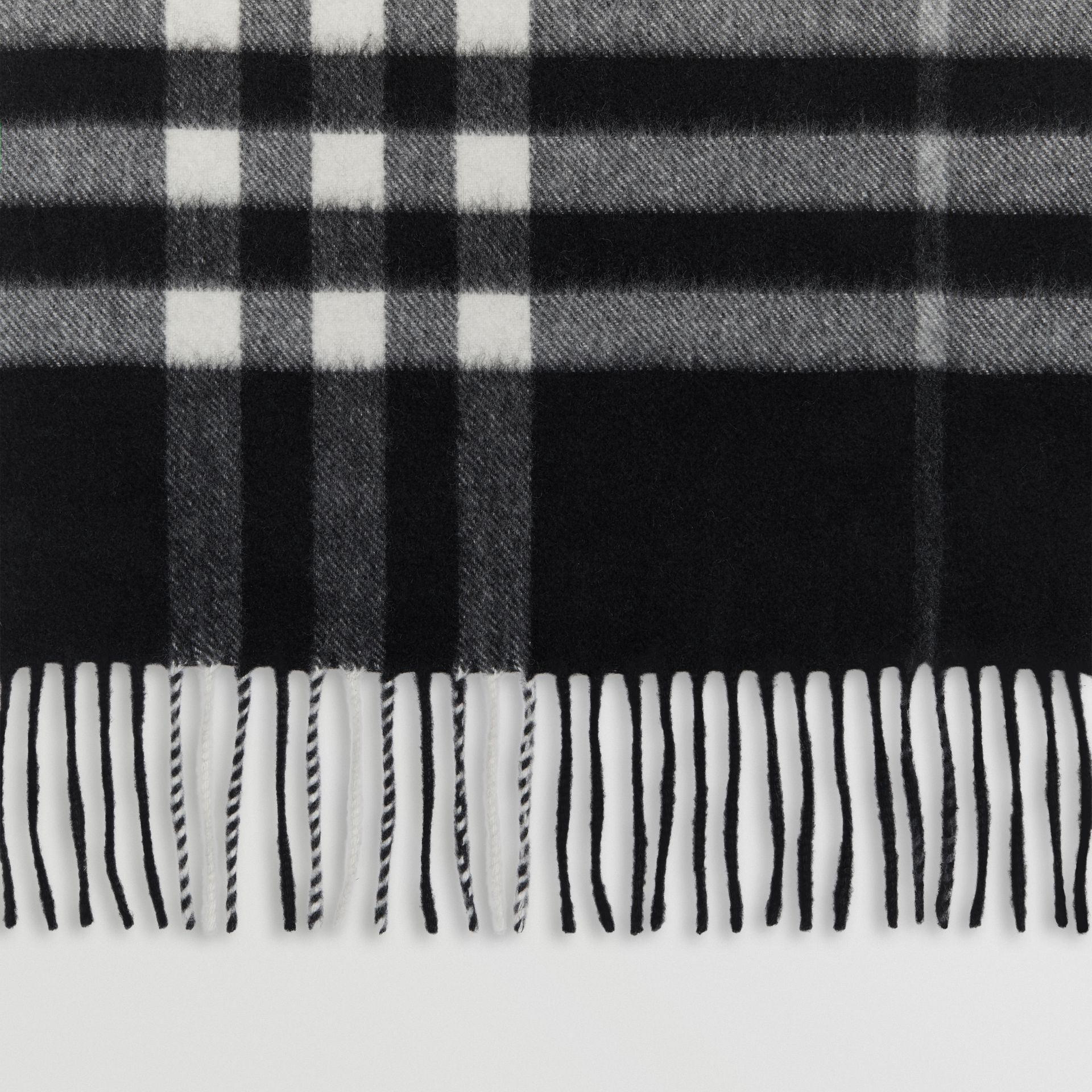 The Classic Check Cashmere Scarf in Black | Burberry Australia - gallery image 1