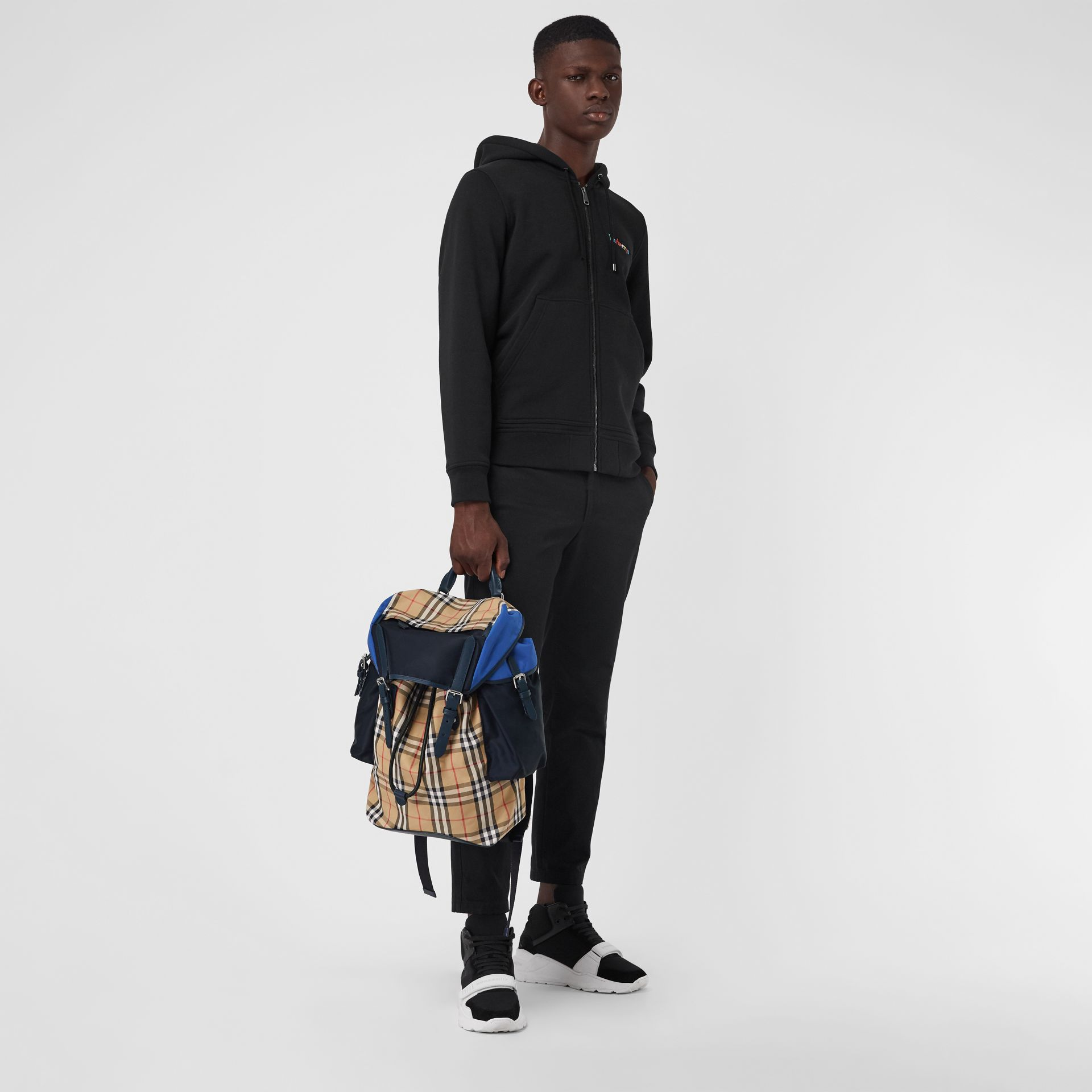 Colour Block Vintage Check and Leather Backpack in Navy - Men | Burberry - gallery image 2