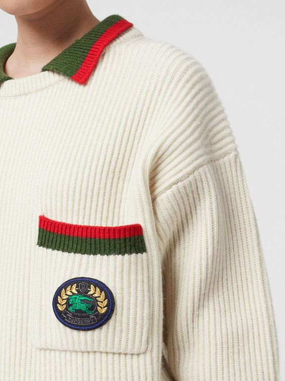 Rib Knit Wool Cashmere Sweater in Ivory - Women | Burberry - cell image 1