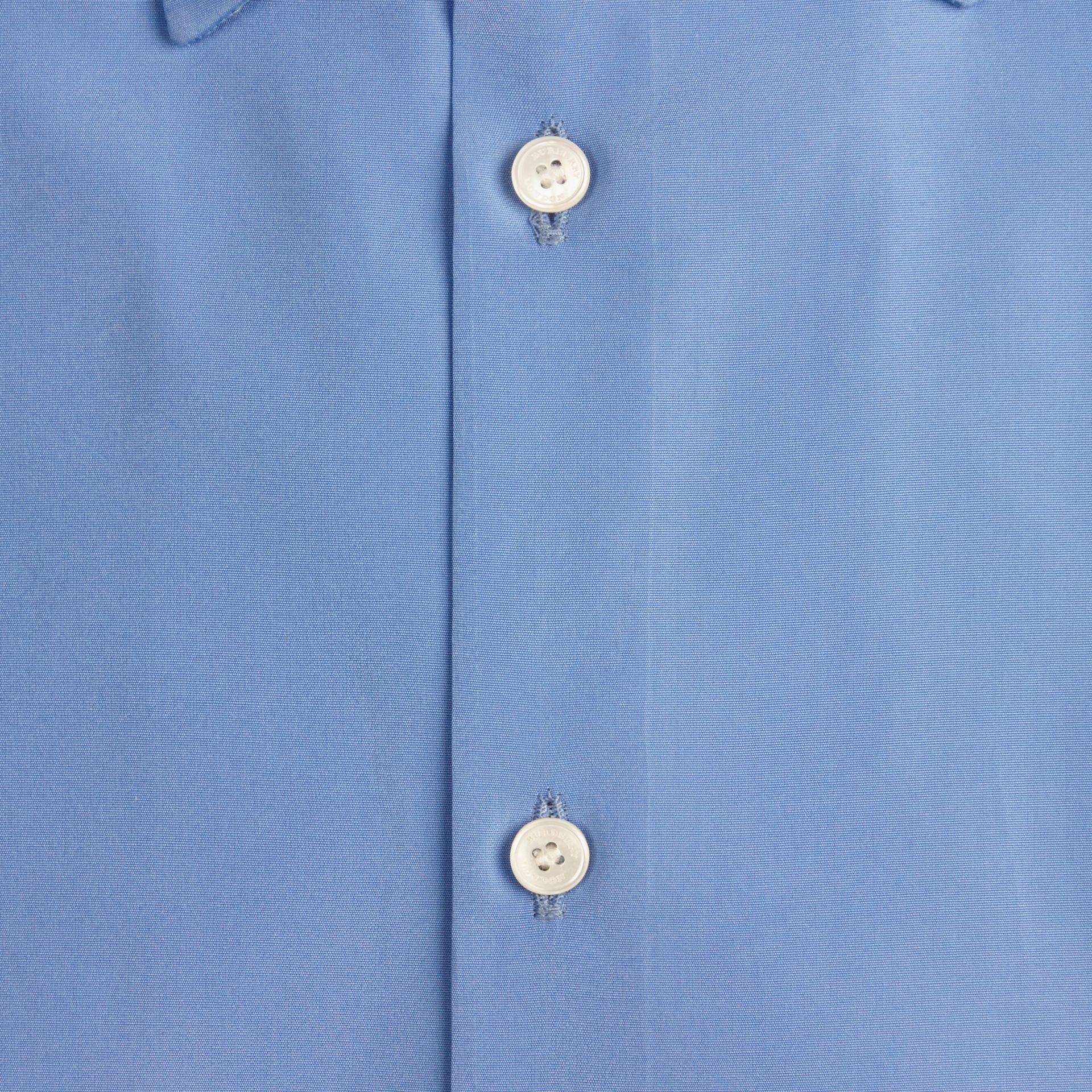 Mid blue Slim Fit Short-sleeved Cotton Poplin Shirt - gallery image 2