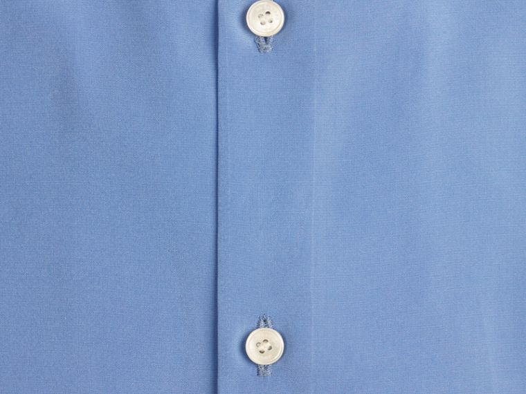 Mid blue Slim Fit Short-sleeved Cotton Poplin Shirt - cell image 1