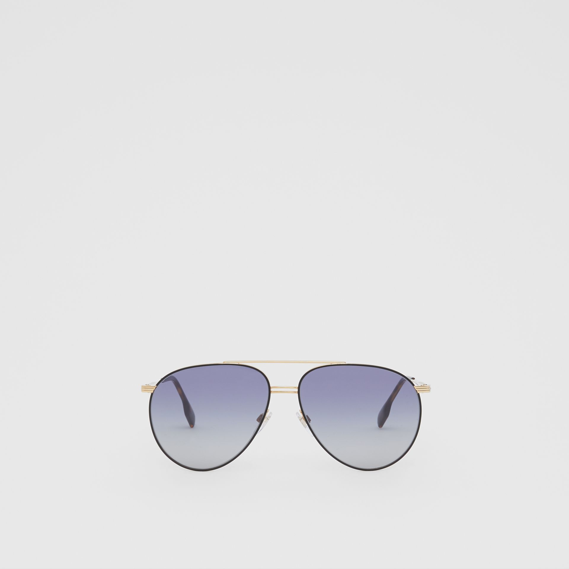 Top Bar Detail Pilot Sunglasses in Gold / Blue | Burberry - gallery image 0