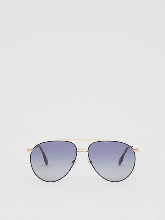 Top Bar Detail Pilot Sunglasses in Gold / Blue