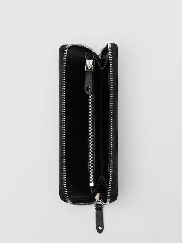 Embossed Crest Leather Ziparound Wallet in Black - Men | Burberry - cell image 3
