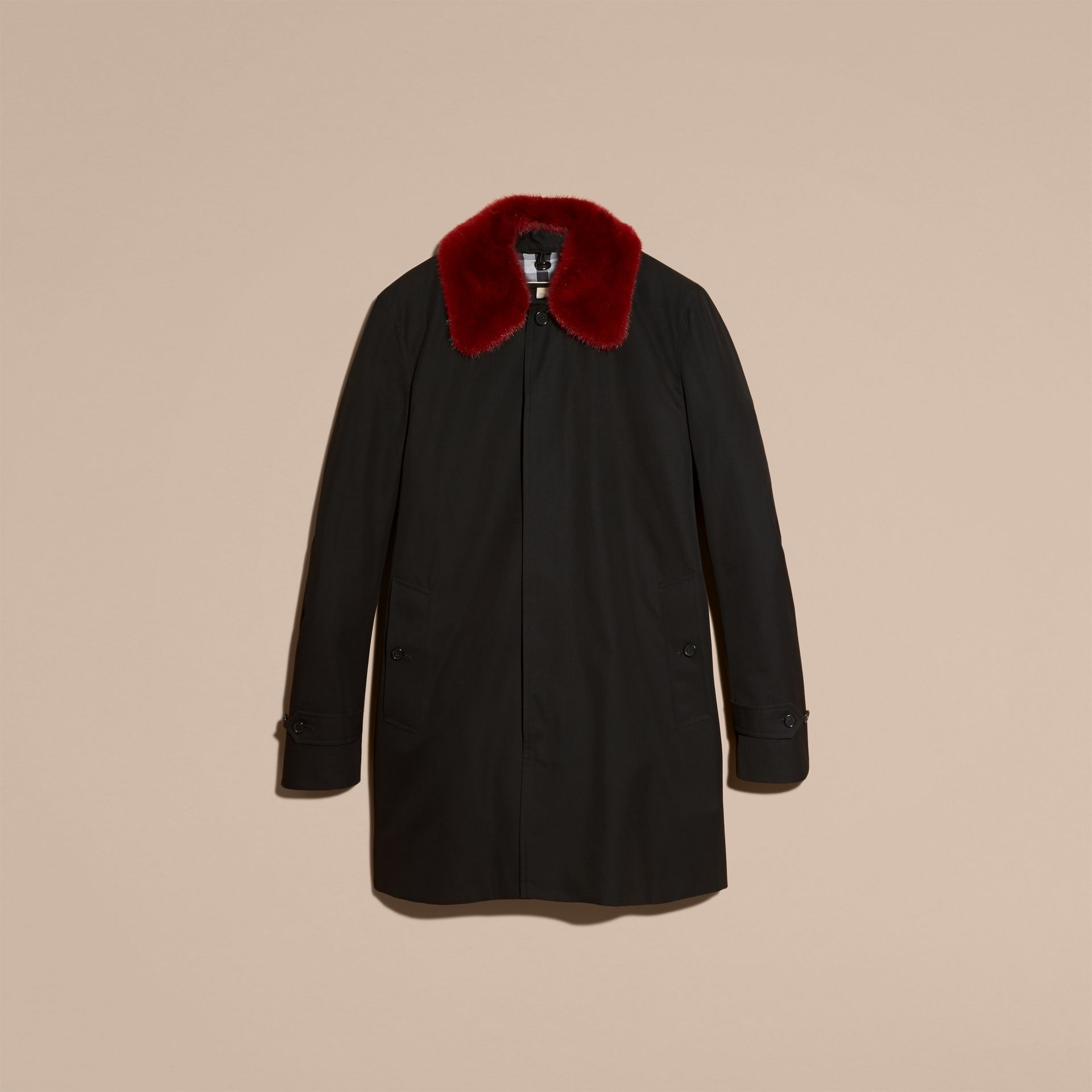 Black Cotton Car Coat with Detachable Mink Collar and Warmer - gallery image 4