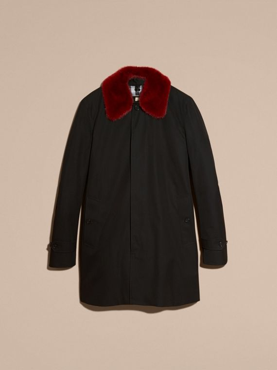 Black Cotton Car Coat with Detachable Mink Collar and Warmer - cell image 3