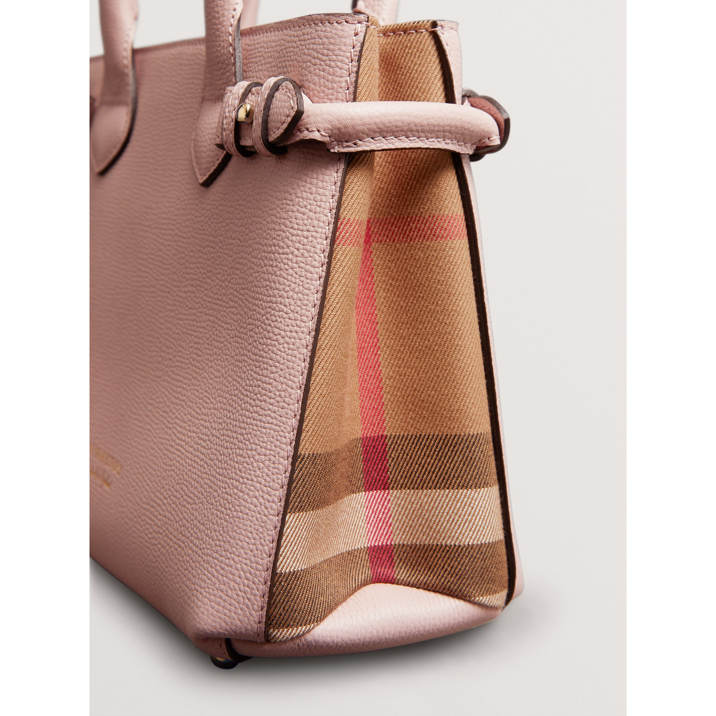 The Small Banner in Leather and House Check in Pale Orchid - Women | Burberry - 2