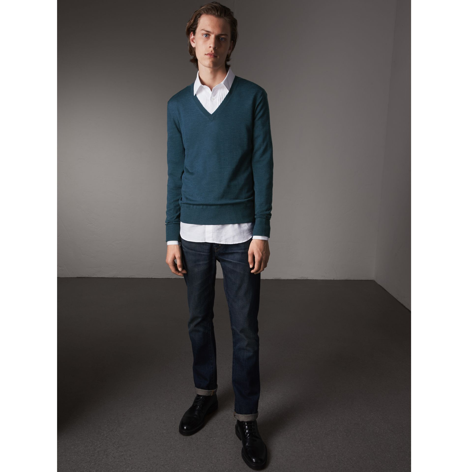 Merino Wool V-neck Sweater in Steel Blue - Men | Burberry Singapore - gallery image 1