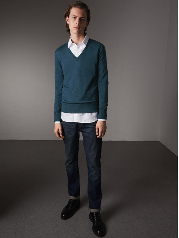 Merino Wool V-neck Sweater in Steel Blue - Men | Burberry