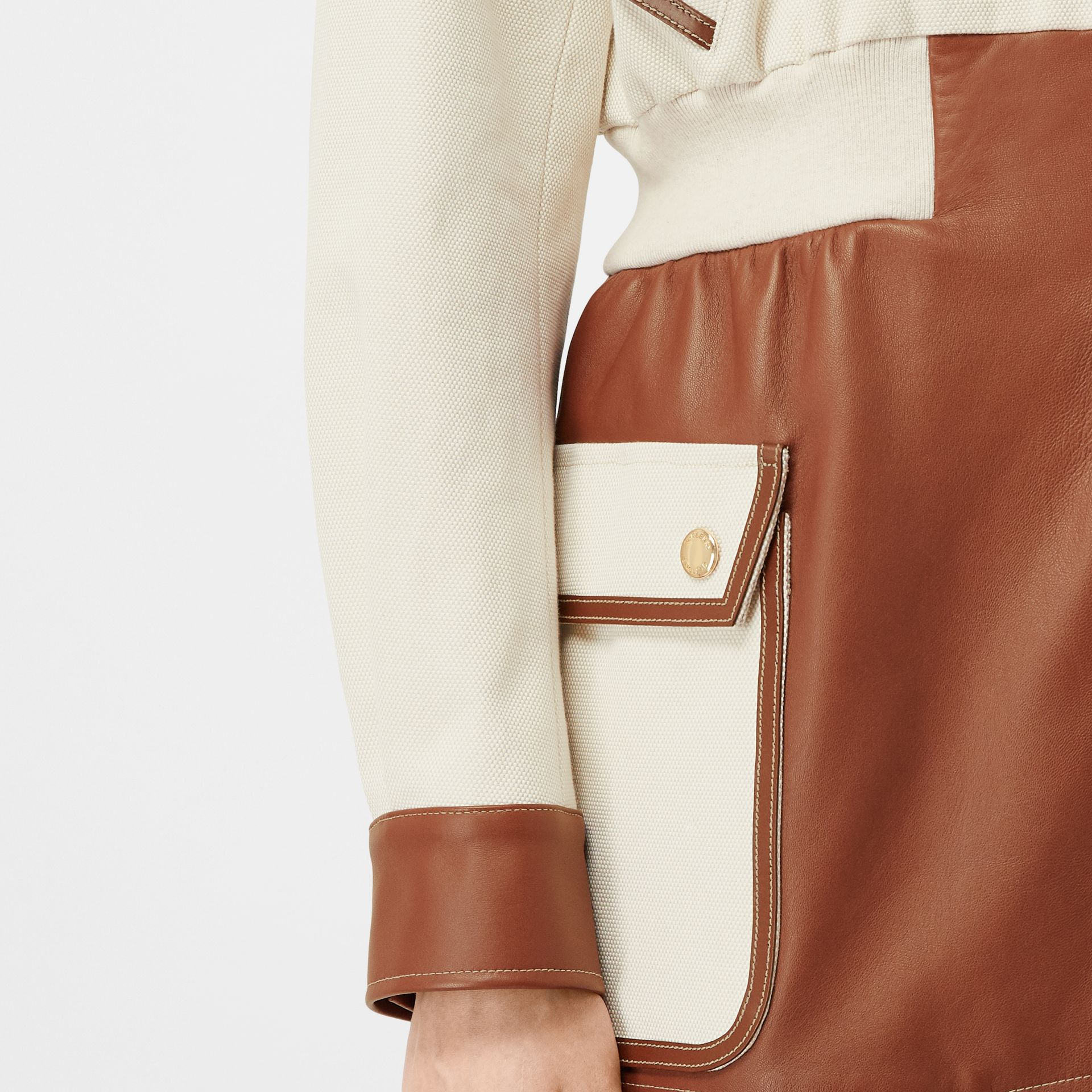 Logo Graphic Cotton and Lambskin Riding Jacket in Vanilla - Women | Burberry - gallery image 4