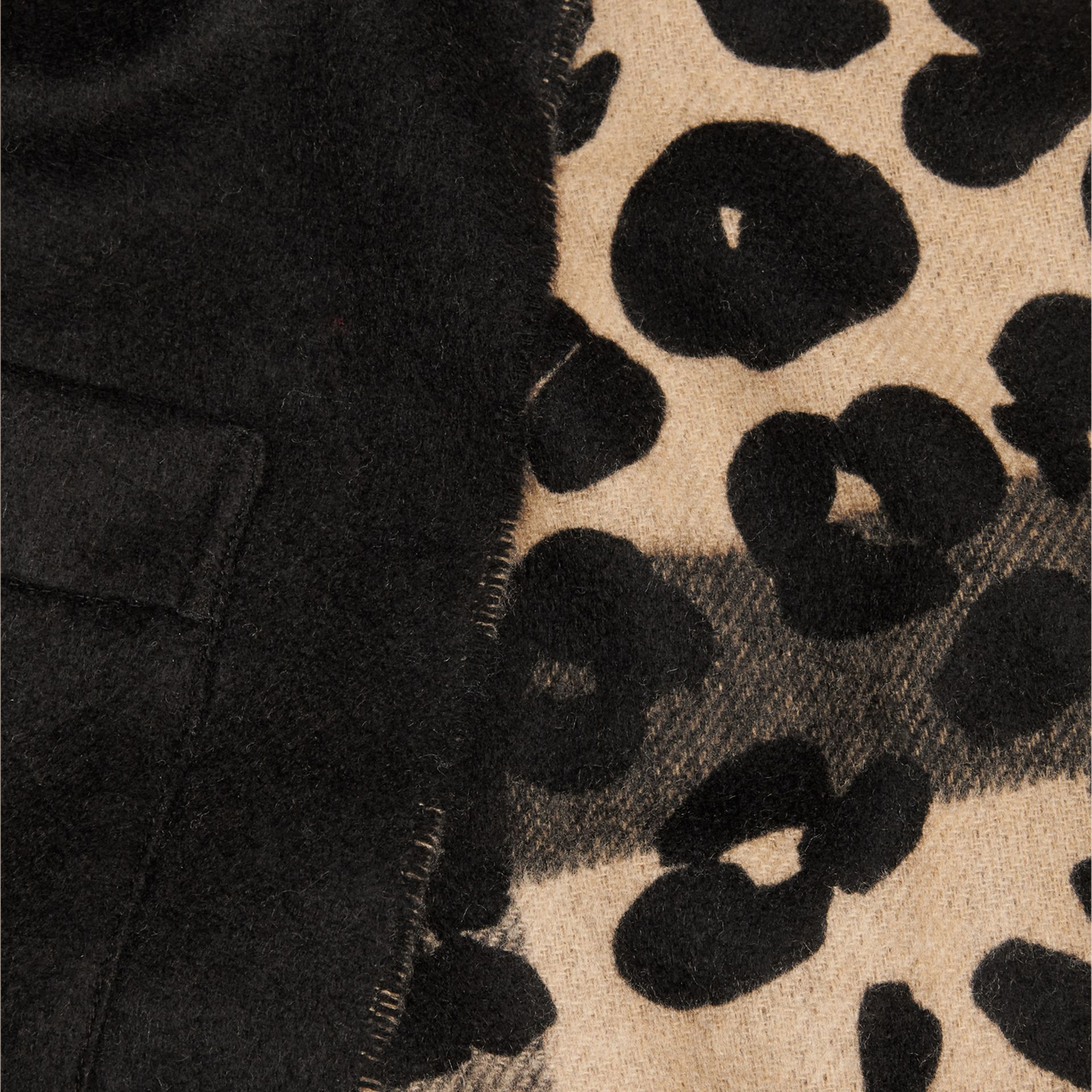Animal Pattern Merino Wool Cashmere Stole in Camel - Women | Burberry - gallery image 2