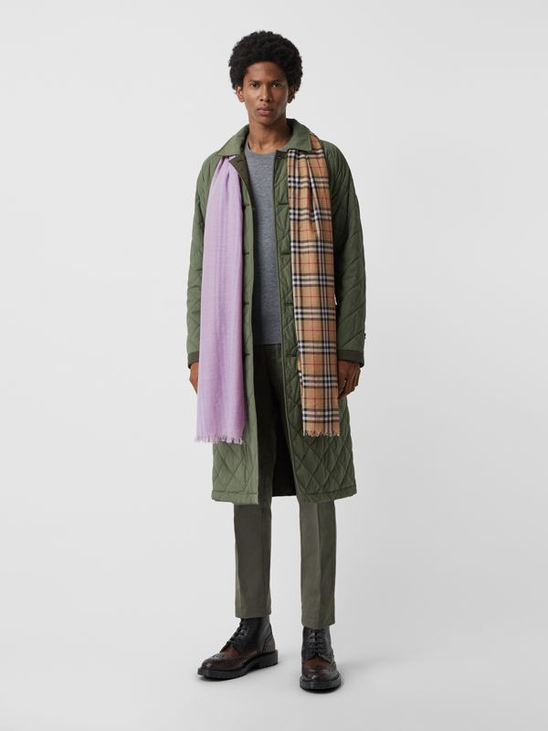 Vintage Check Colour Block Wool Silk Scarf in Lilac | Burberry - cell image 3