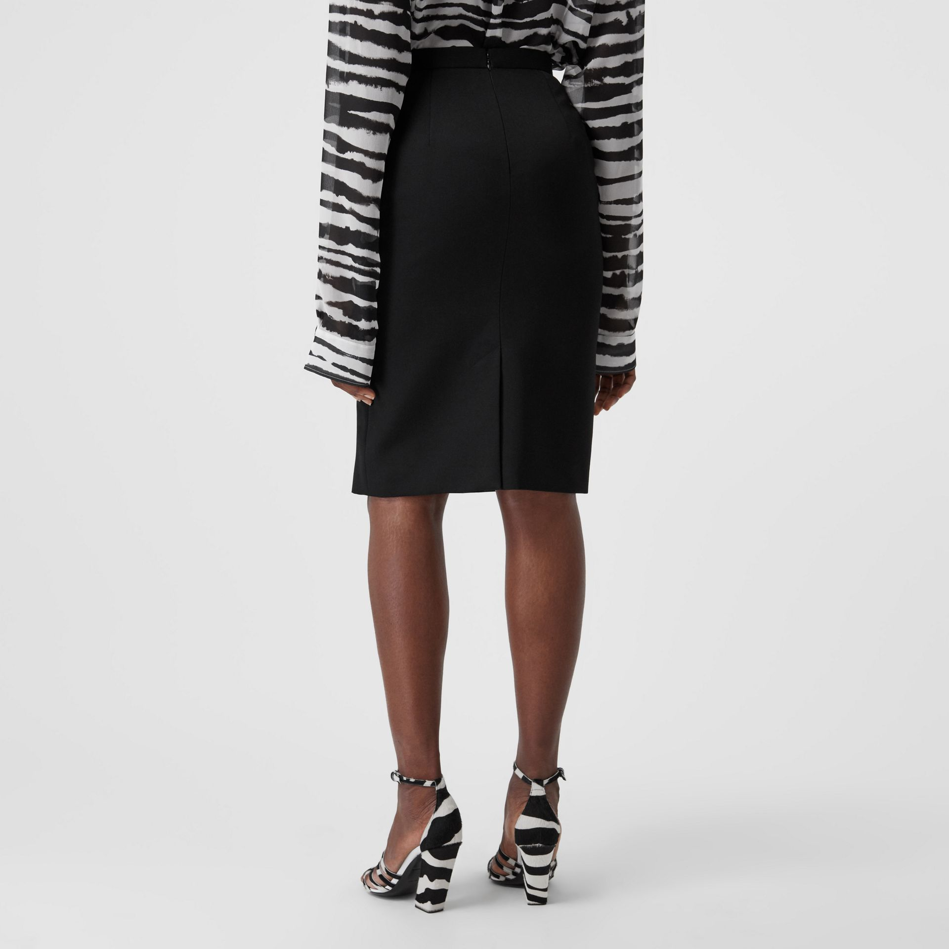 Cotton Jersey Step-through Pencil Skirt in Black - Women | Burberry Australia - gallery image 1