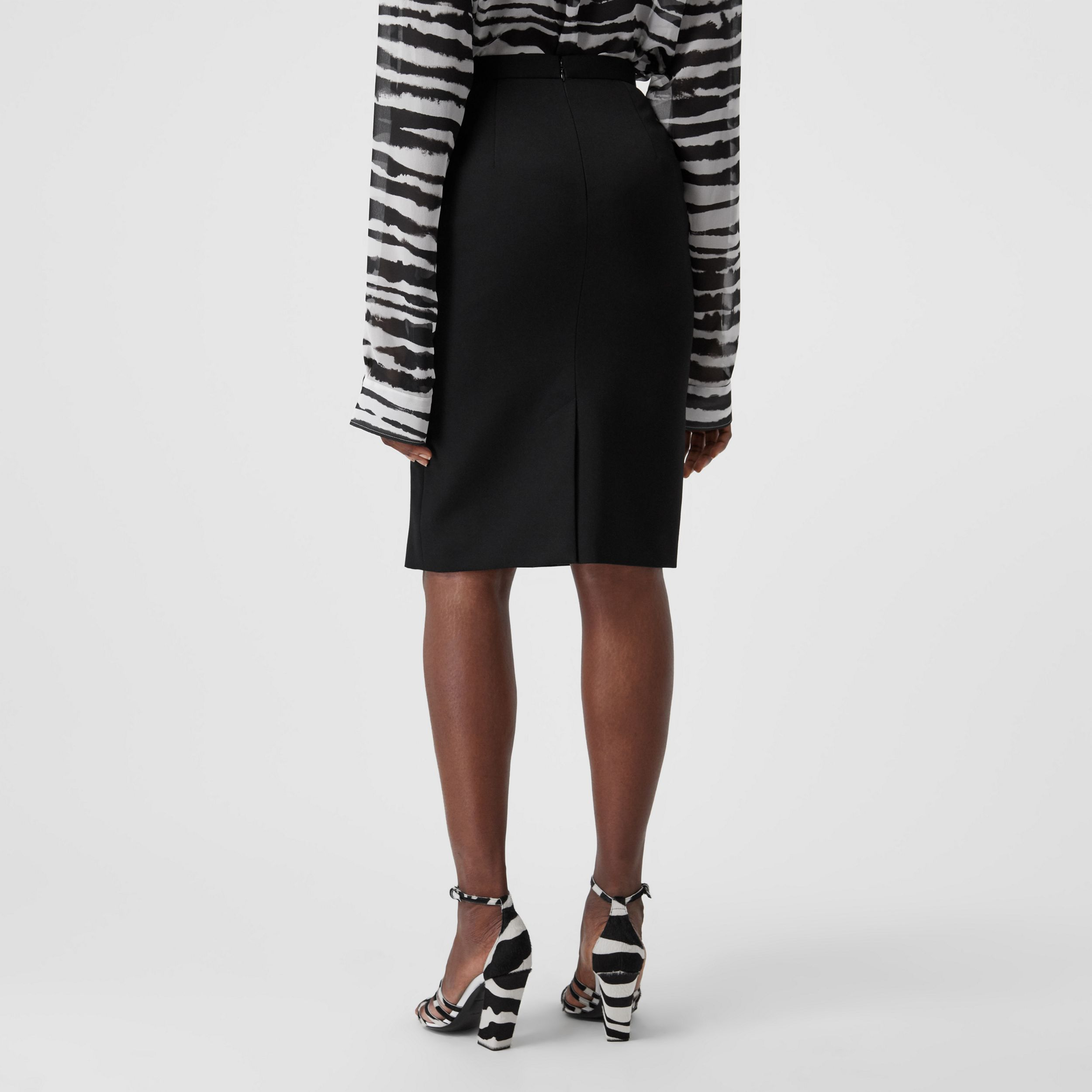 Cotton Jersey Step-through Pencil Skirt in Black - Women | Burberry - 2