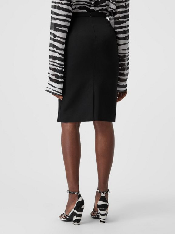 Cotton Jersey Step-through Pencil Skirt in Black - Women | Burberry - cell image 1