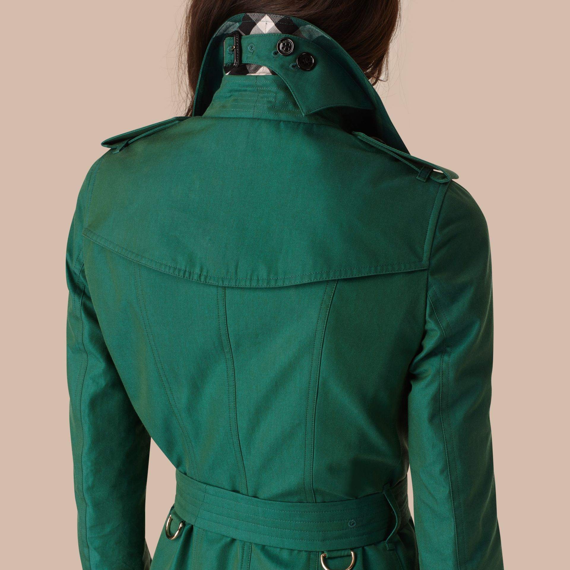 Aqua green Cotton Gabardine Trench Coat Aqua Green - gallery image 5