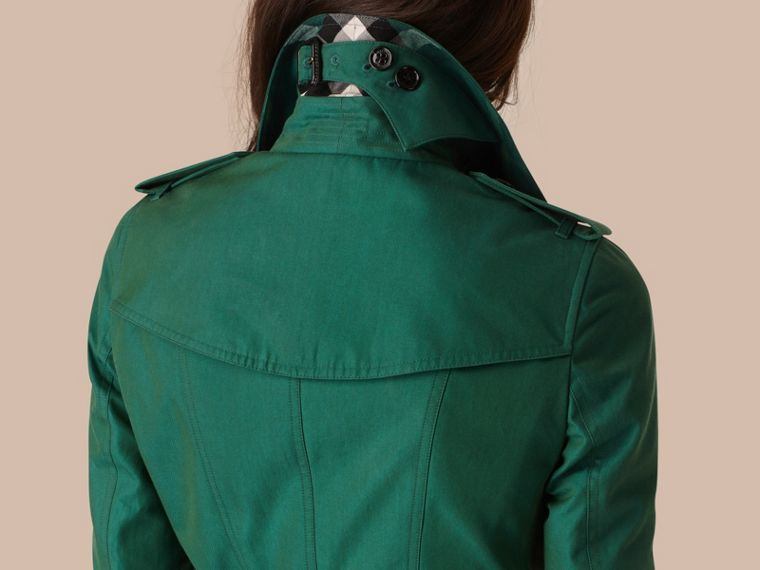 Aqua green Cotton Gabardine Trench Coat Aqua Green - cell image 4