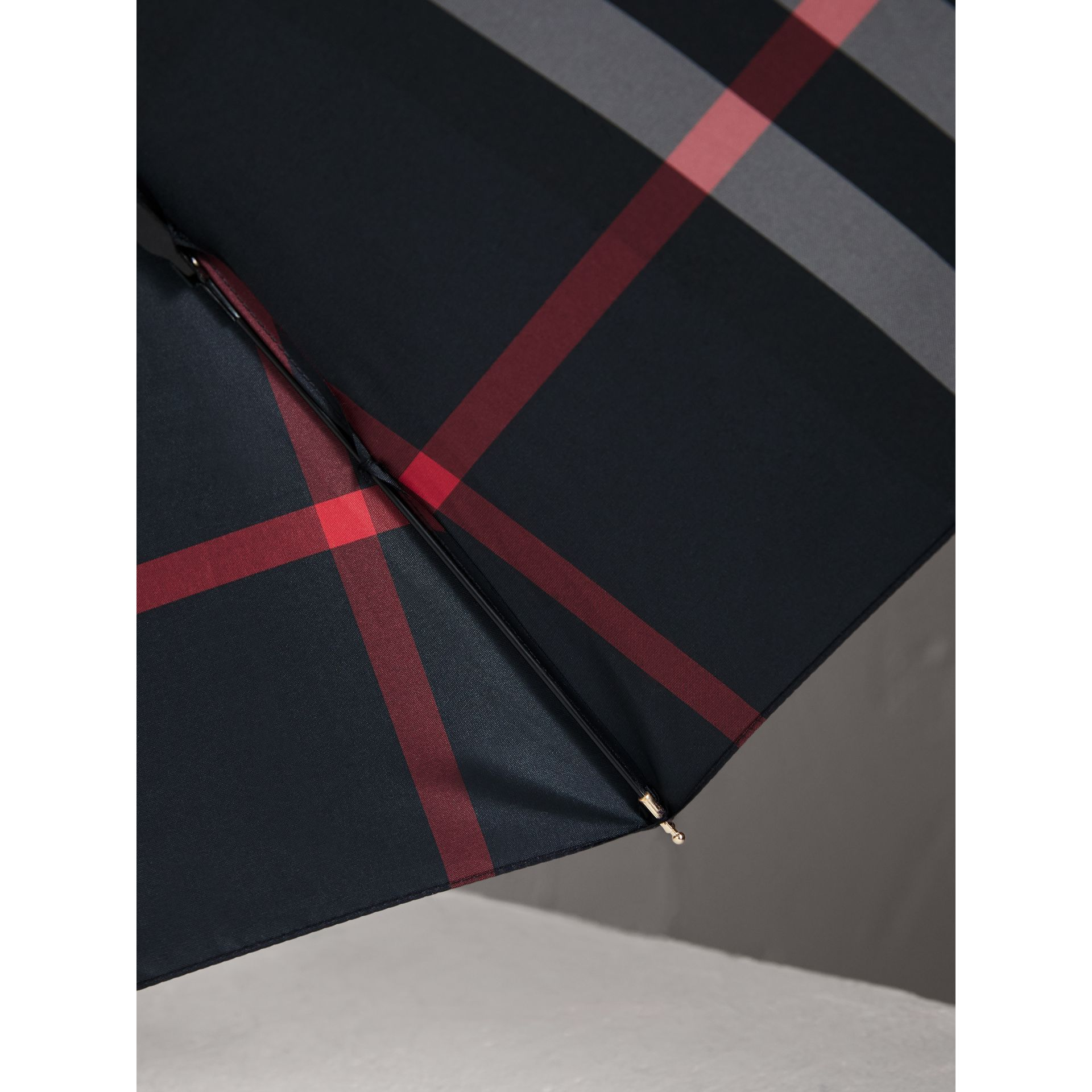 Check Folding Umbrella in Navy | Burberry Australia - gallery image 3
