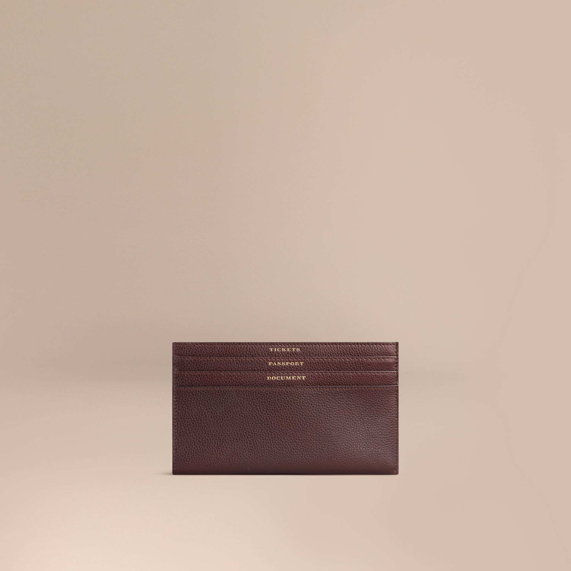 Grainy Leather Travel Case in Ebony Red | Burberry - gallery image 1
