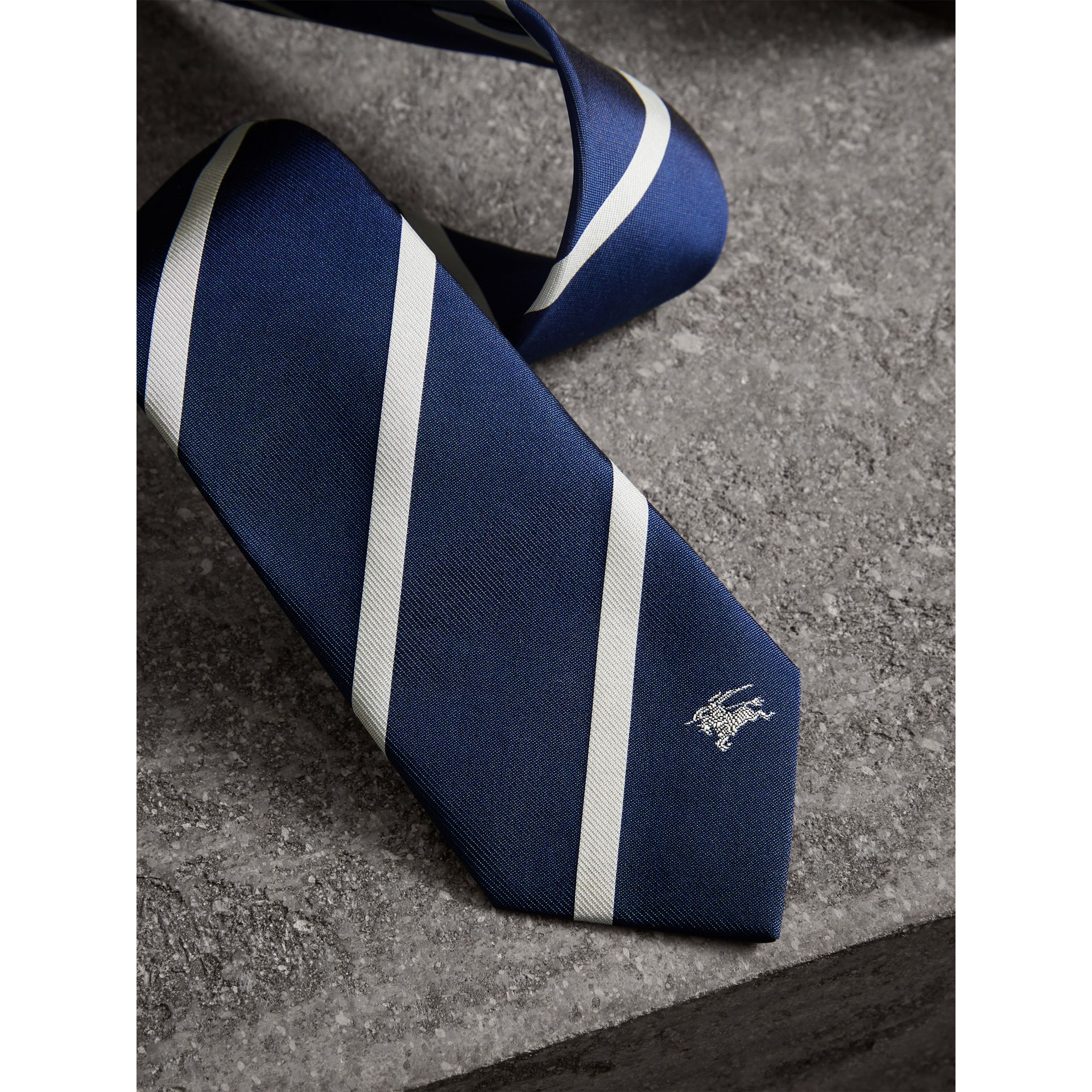 Slim Cut Striped Silk Twill Tie in Navy - Men | Burberry - gallery image 1