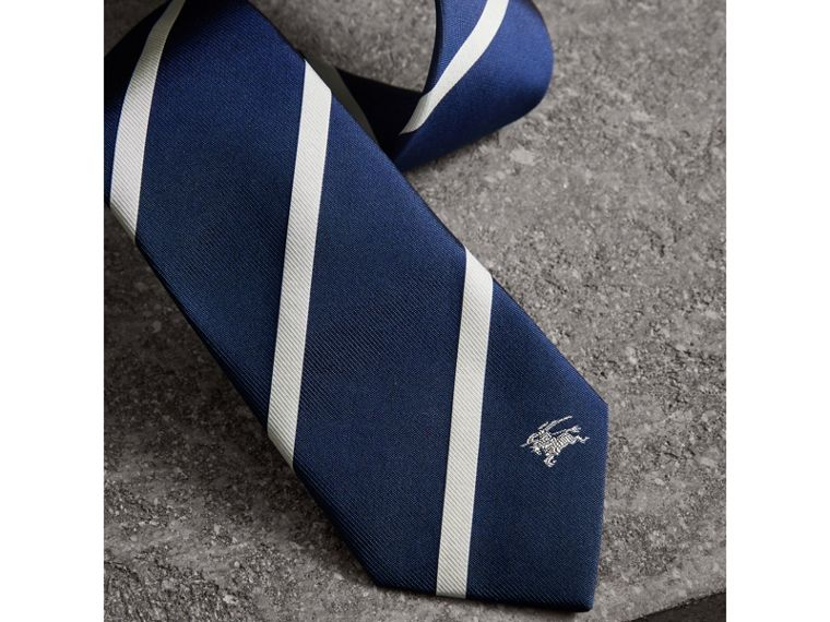 Slim Cut Striped Silk Twill Tie in Navy - Men | Burberry - cell image 1