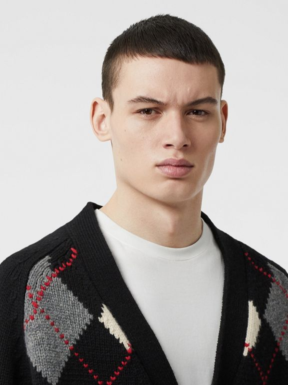 Cut-out Detail Merino Wool Cashmere Cardigan in Black - Men | Burberry Australia - cell image 1