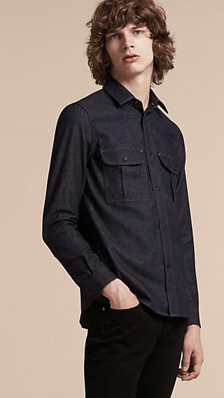 Slim Fit Japanese Denim Shirt
