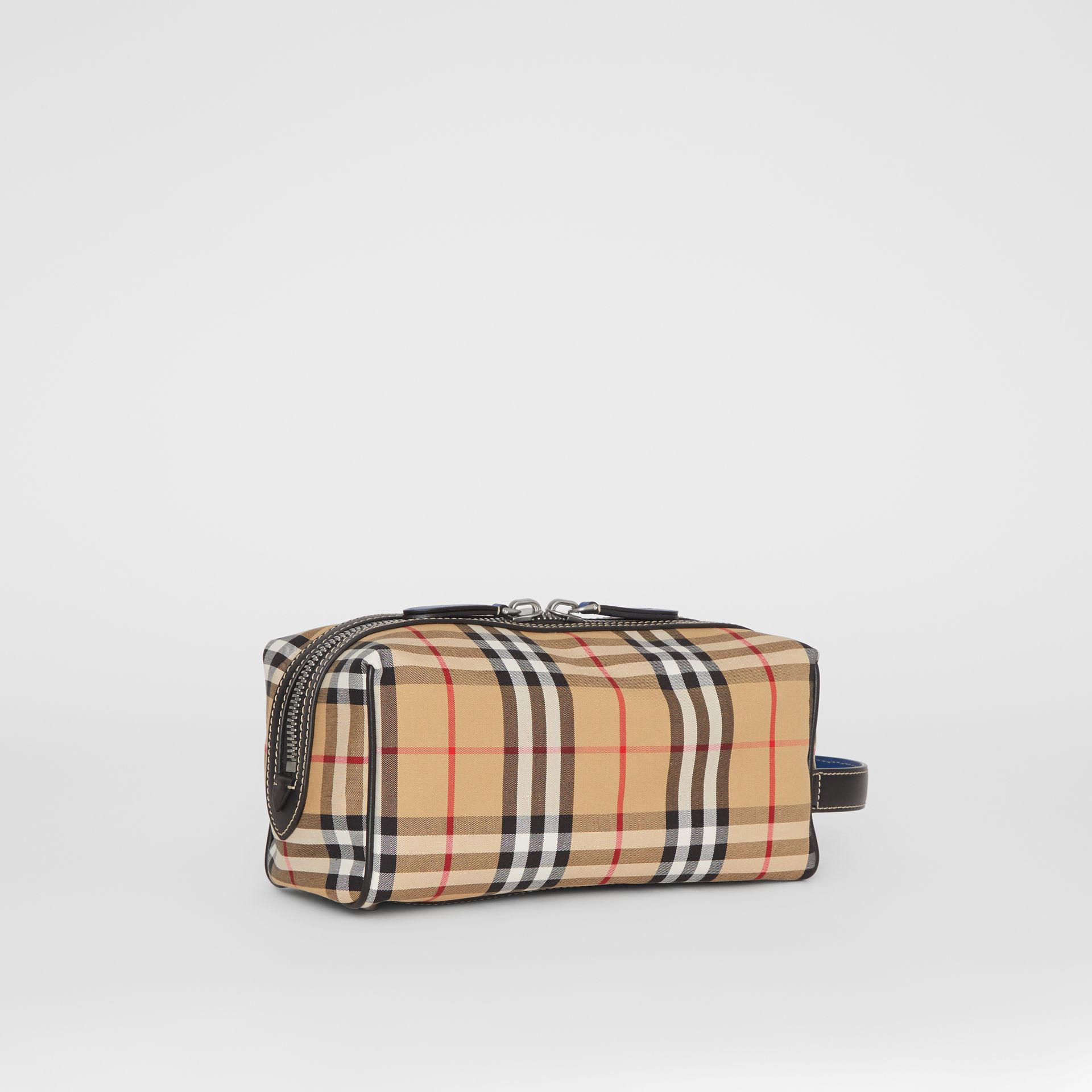 Vintage Check and Leather Pouch in Dark Cyan | Burberry Australia - gallery image 6
