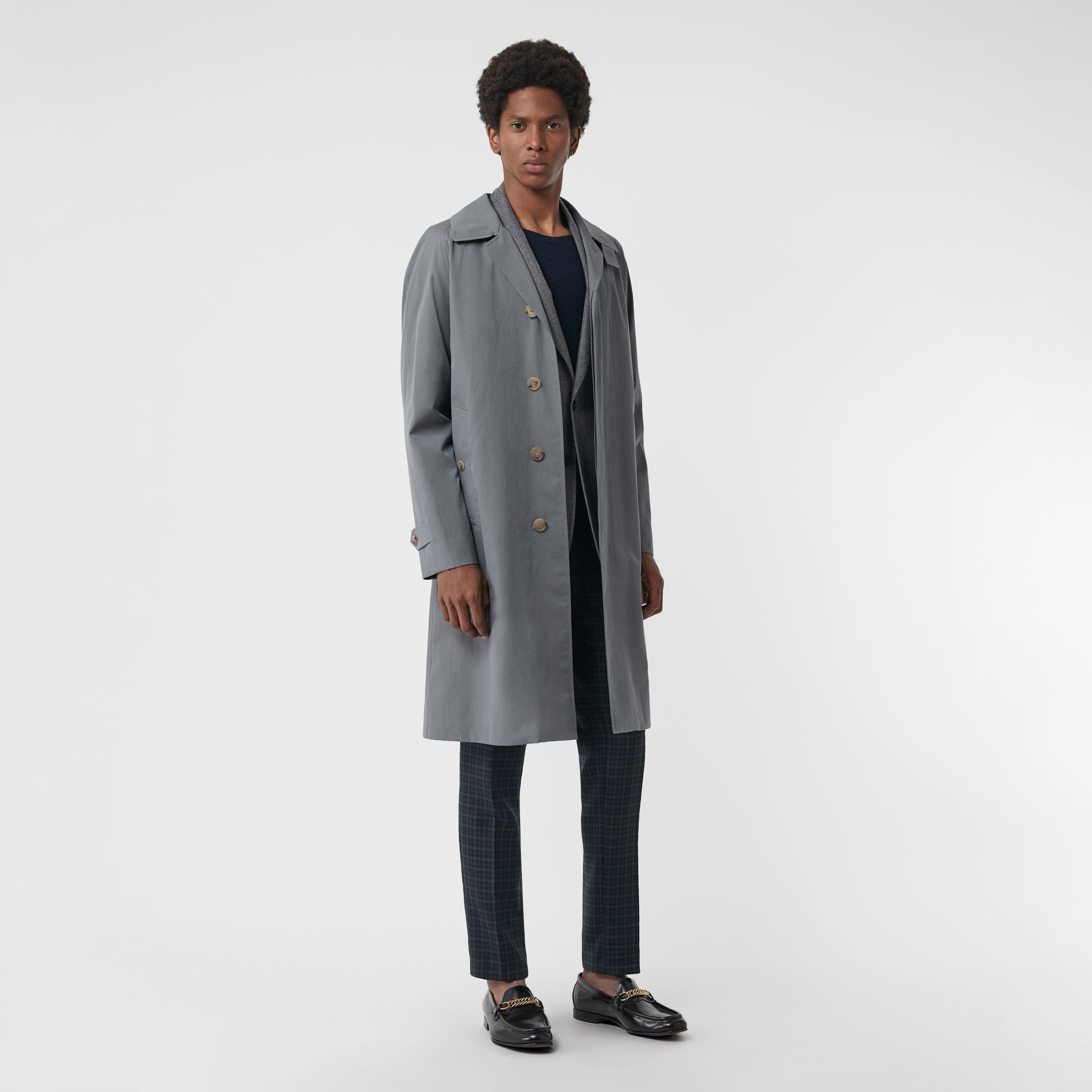 Archive Logo-lined Tropical Gabardine Car Coat in Dusty Blue - Men | Burberry United Kingdom - gallery image 5
