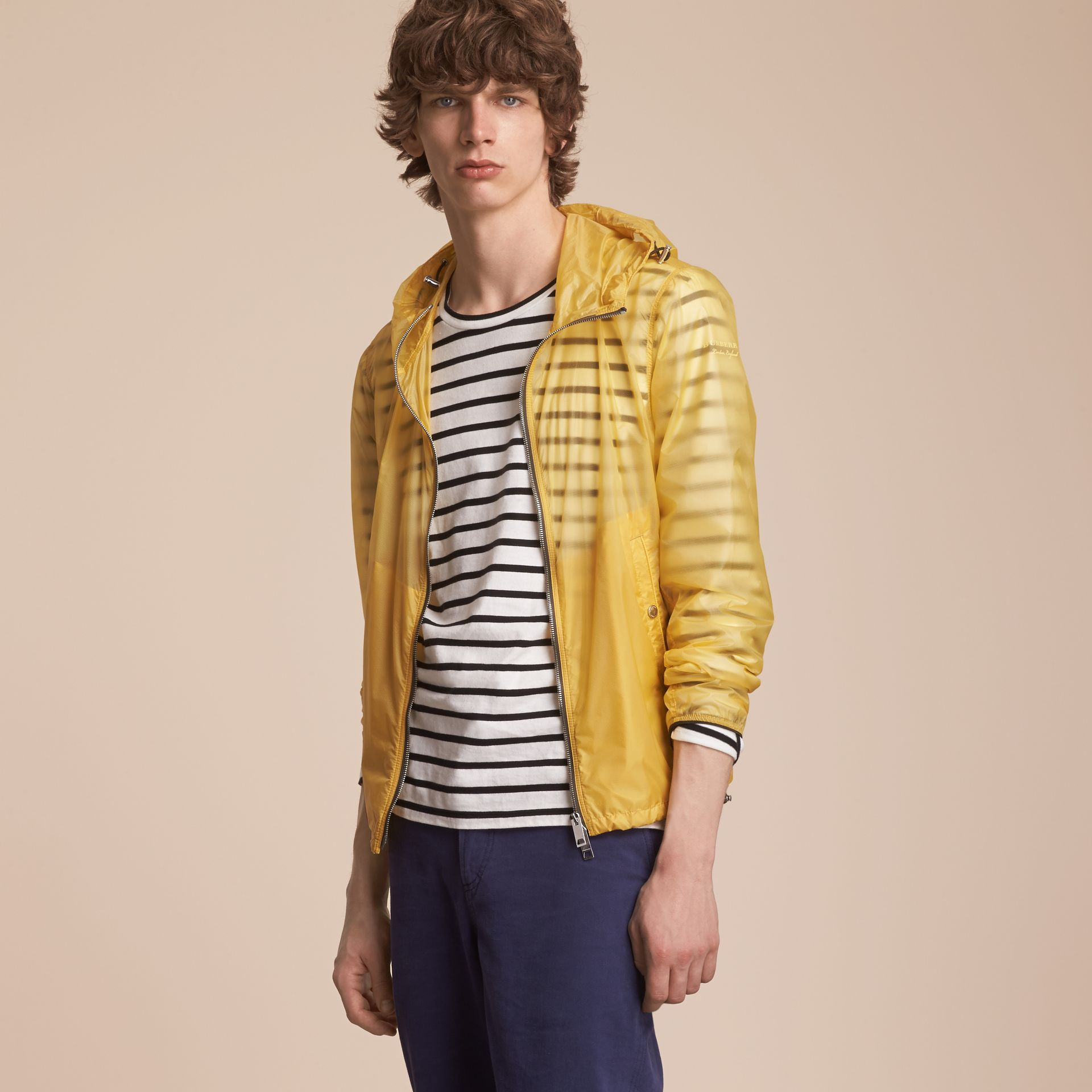 Hooded Super-lightweight Jacket in Pale Yellow - Men | Burberry - gallery image 6