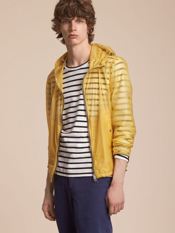 Hooded Super-lightweight Jacket in Pale Yellow