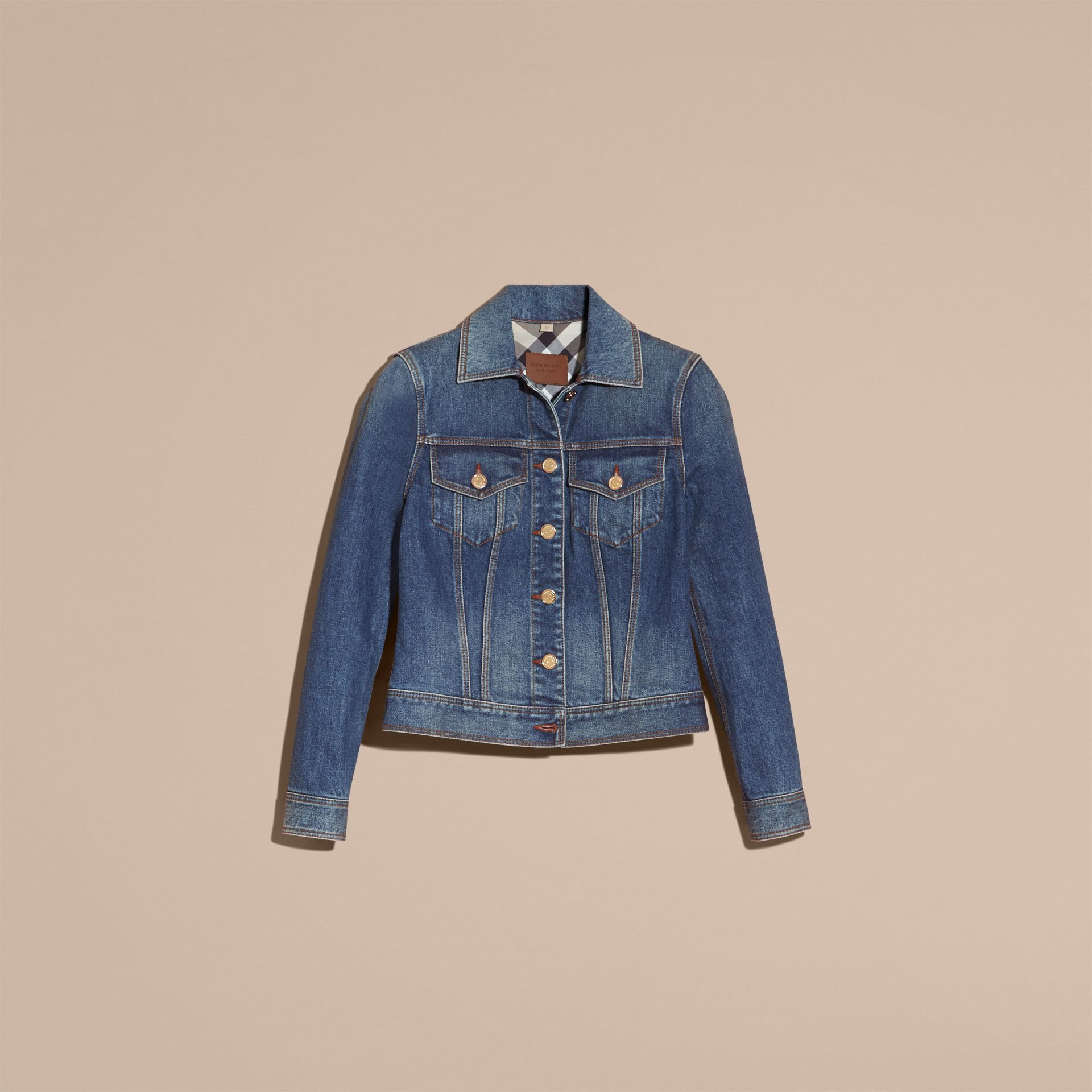 Check Detail Denim Jacket in Light Indigo - gallery image 4