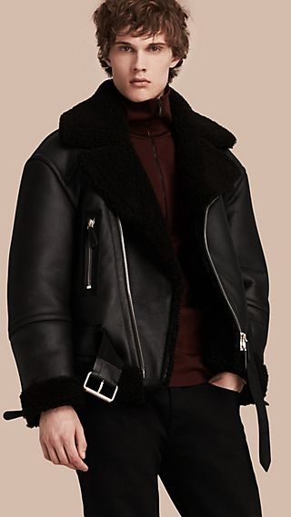 Oversize Shearling Flight Jacket