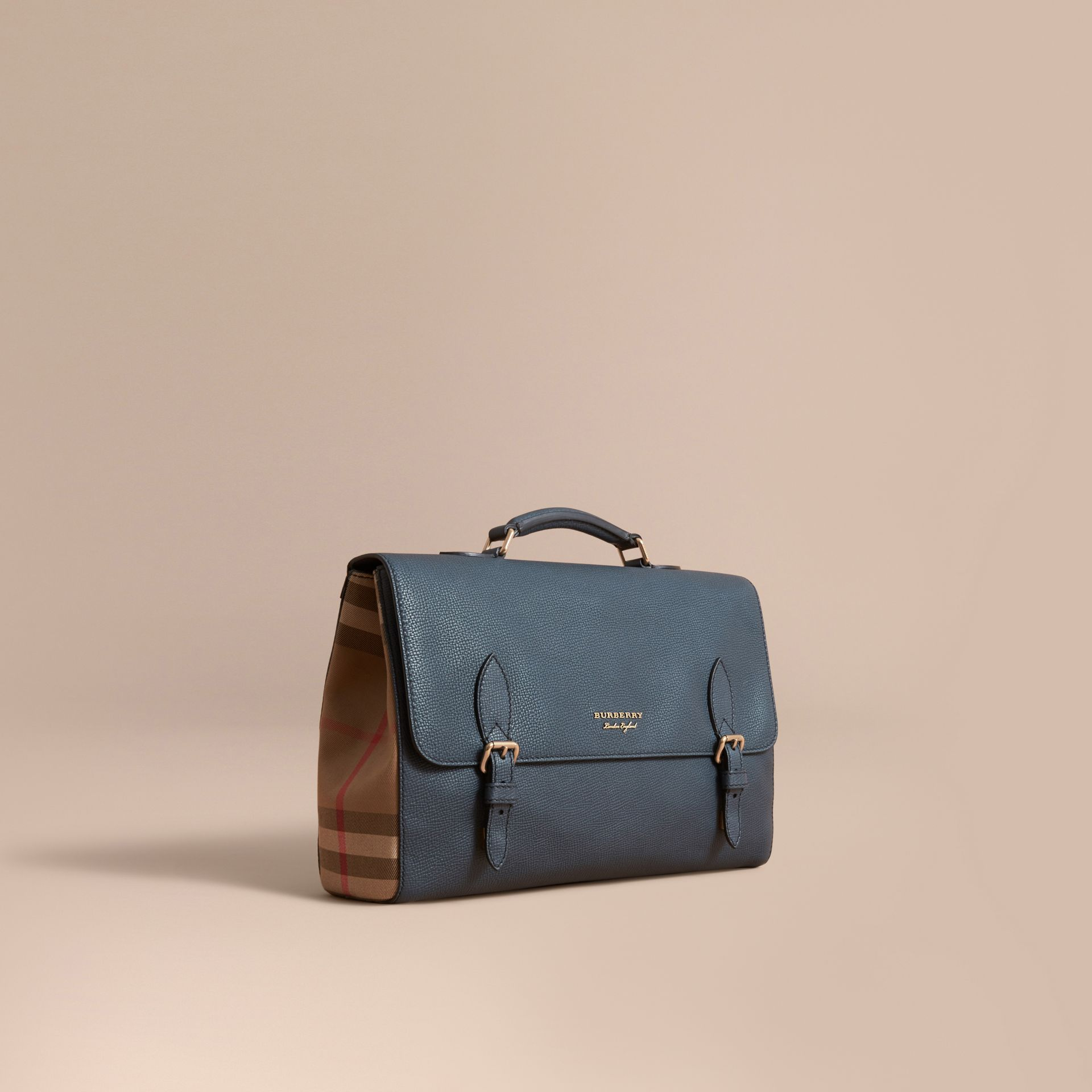 Leather and House Check Satchel in Storm Blue - Men | Burberry - gallery image 1