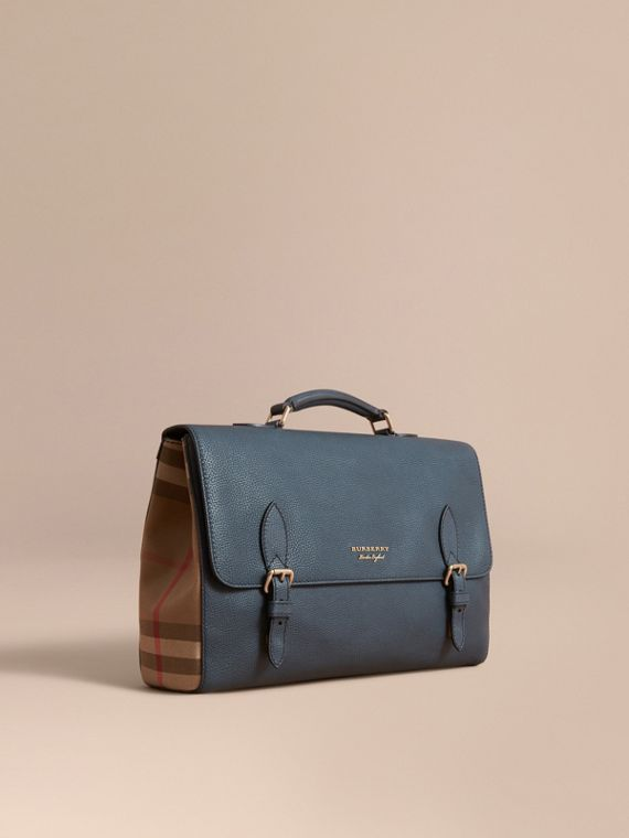 Leather and House Check Satchel in Storm Blue - Men | Burberry