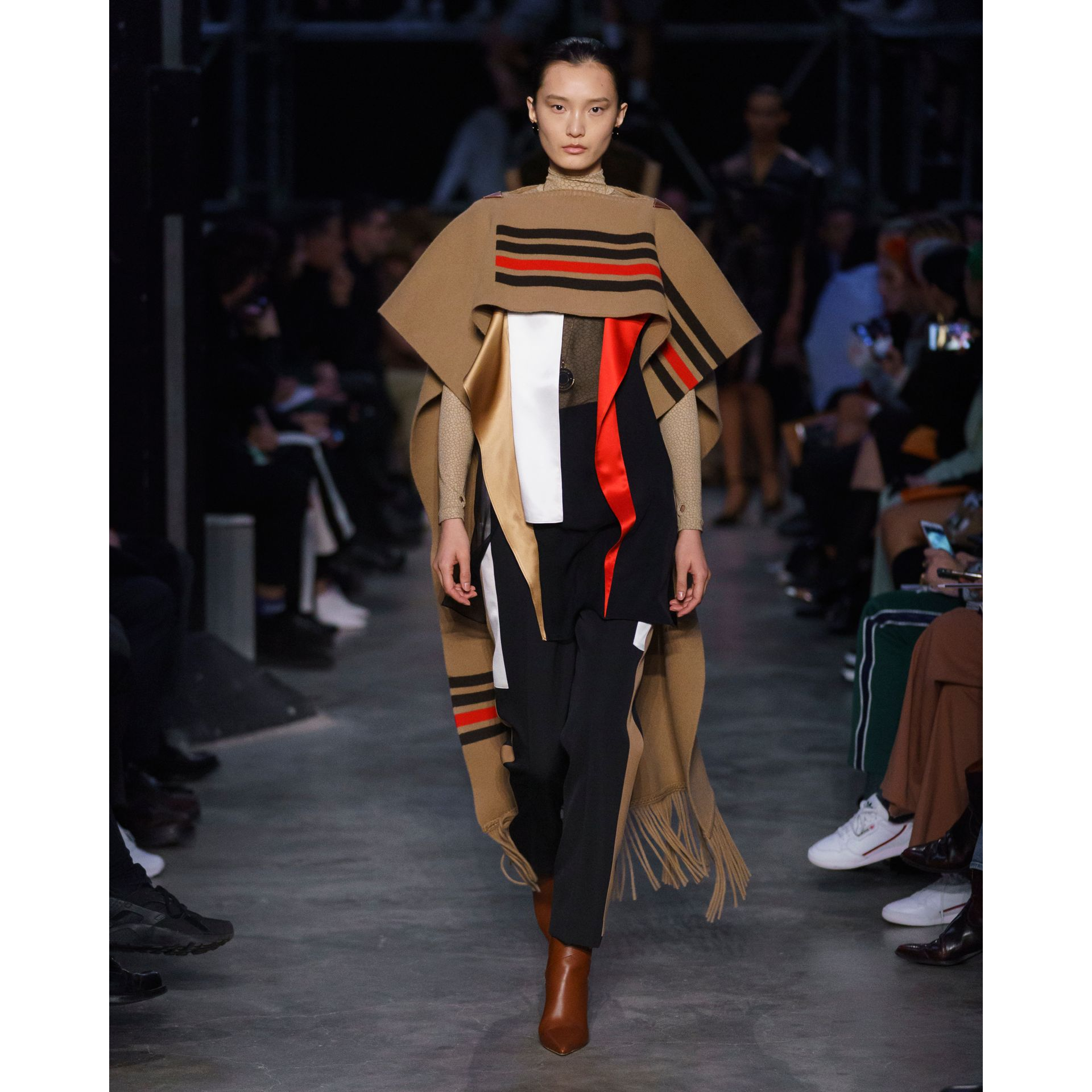 Striped Wool Cashmere Blend Cape in Camel - Women | Burberry - gallery image 8