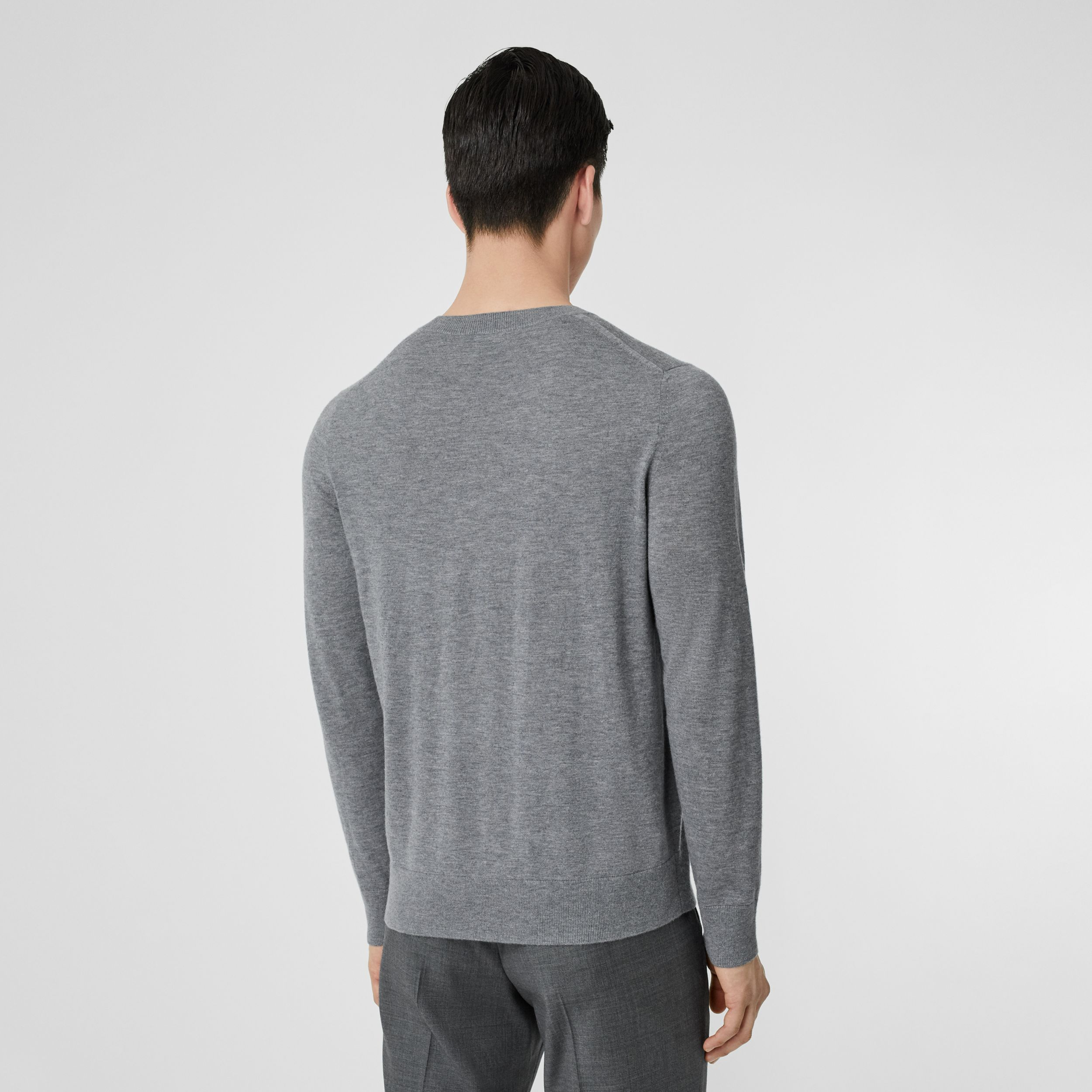 Monogram Motif Cashmere Sweater in Pale Grey Melange - Men | Burberry - 3