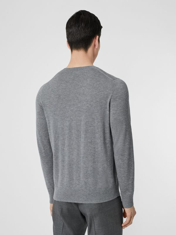 Monogram Motif Cashmere Sweater in Pale Grey Melange - Men | Burberry Singapore - cell image 2