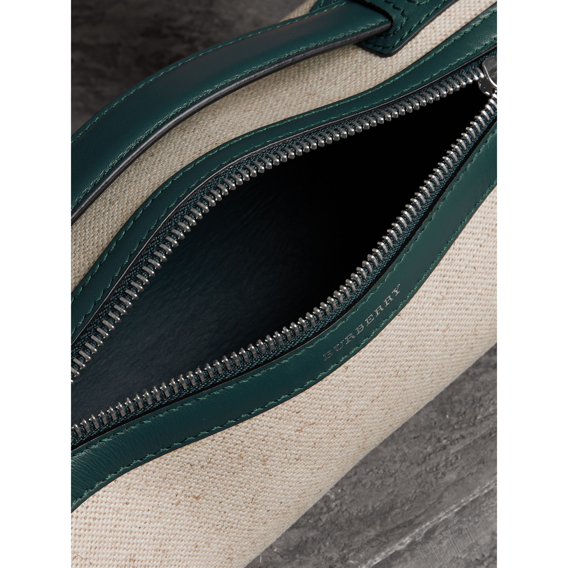 The Cotton Linen and Leather Barrel Bag in Dark Cyan - Women | Burberry United Kingdom - gallery image 2