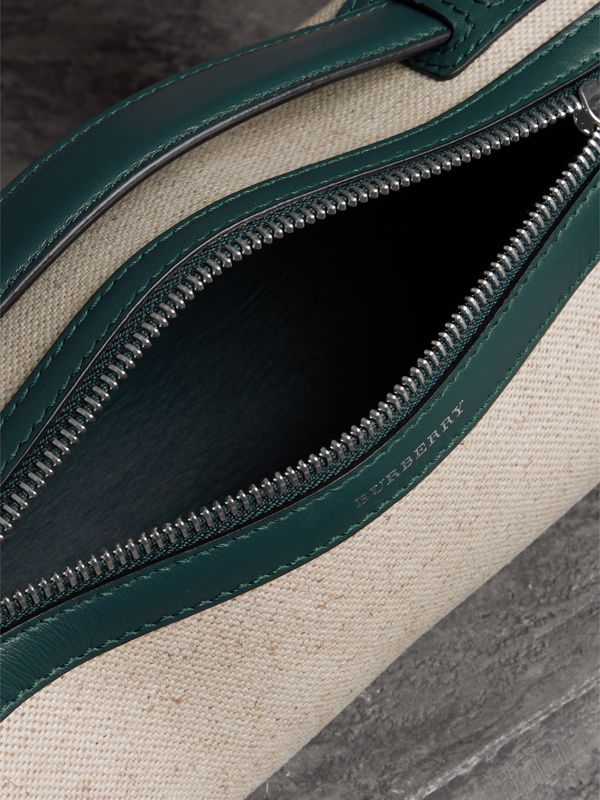 The Cotton Linen and Leather Barrel Bag in Dark Cyan - Women | Burberry United Kingdom - cell image 2