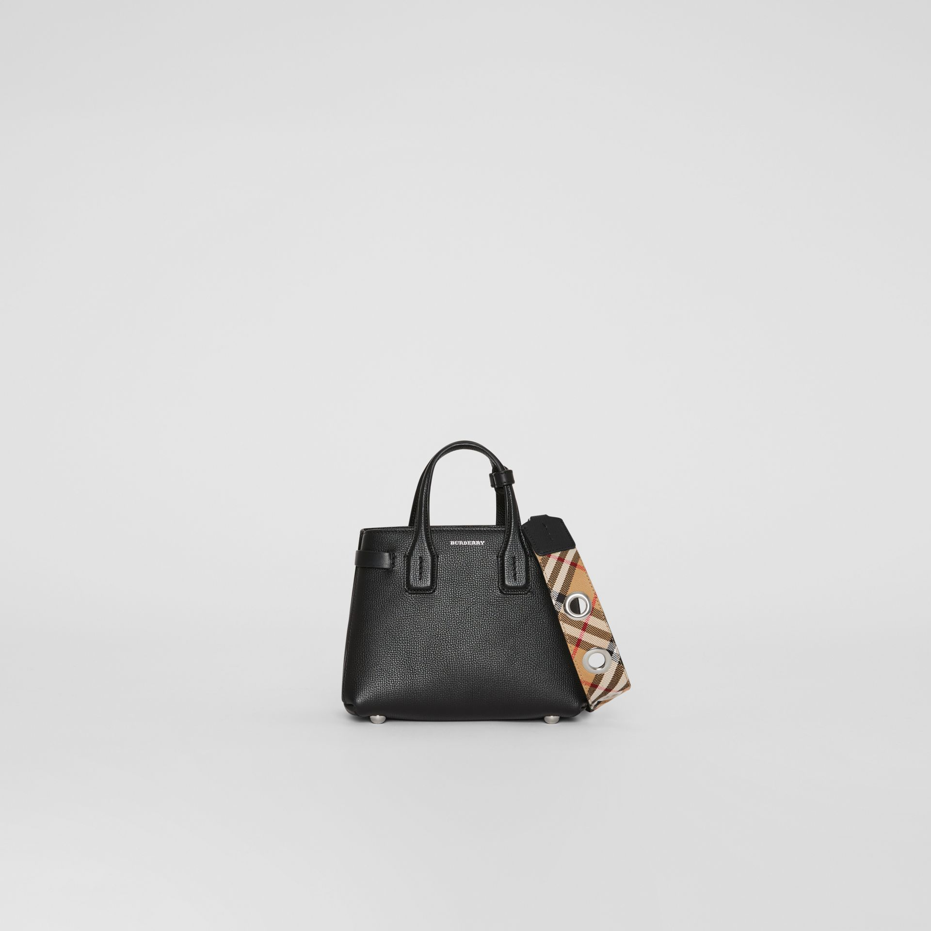 The Baby Banner in Leather and Vintage Check in Black - Women | Burberry Singapore - gallery image 0