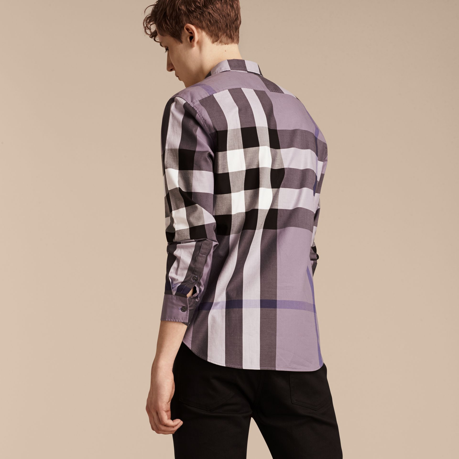Lilac Check Cotton Shirt Lilac - gallery image 2