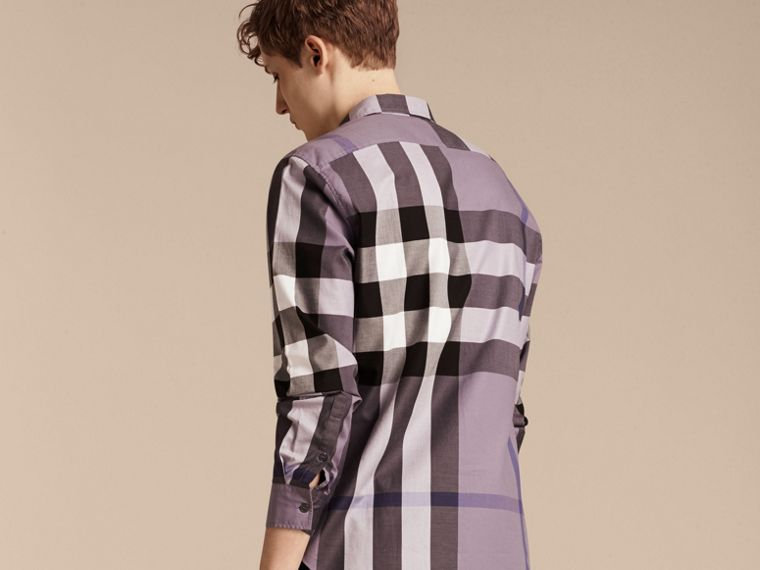 Lilac Check Cotton Shirt Lilac - cell image 1