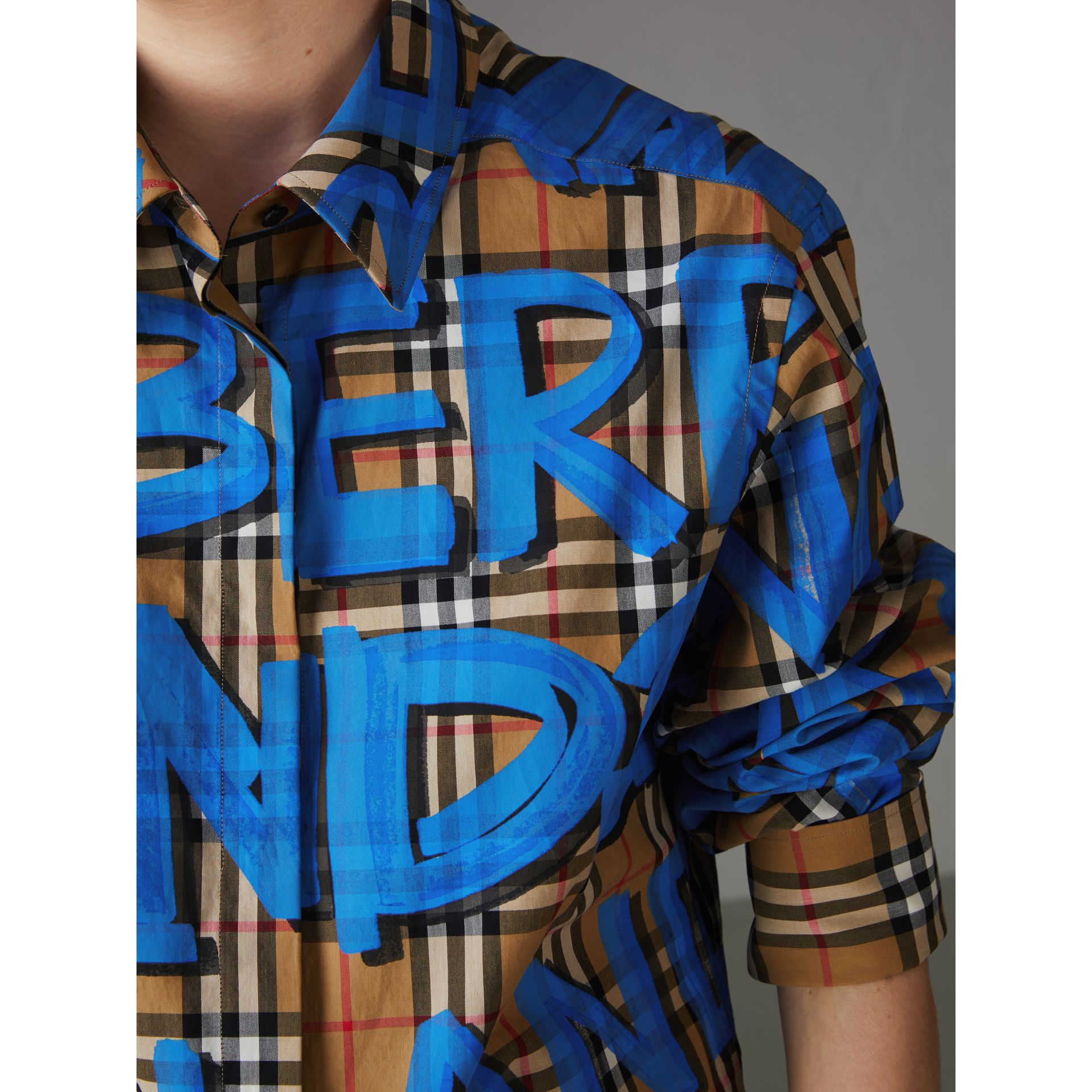 Graffiti Print Vintage Check Cotton Shirt in Bright Blue - Women | Burberry - gallery image 1