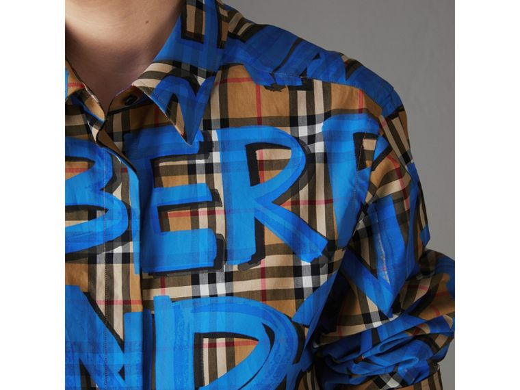 Graffiti Print Vintage Check Cotton Shirt in Bright Blue - Women | Burberry - cell image 1