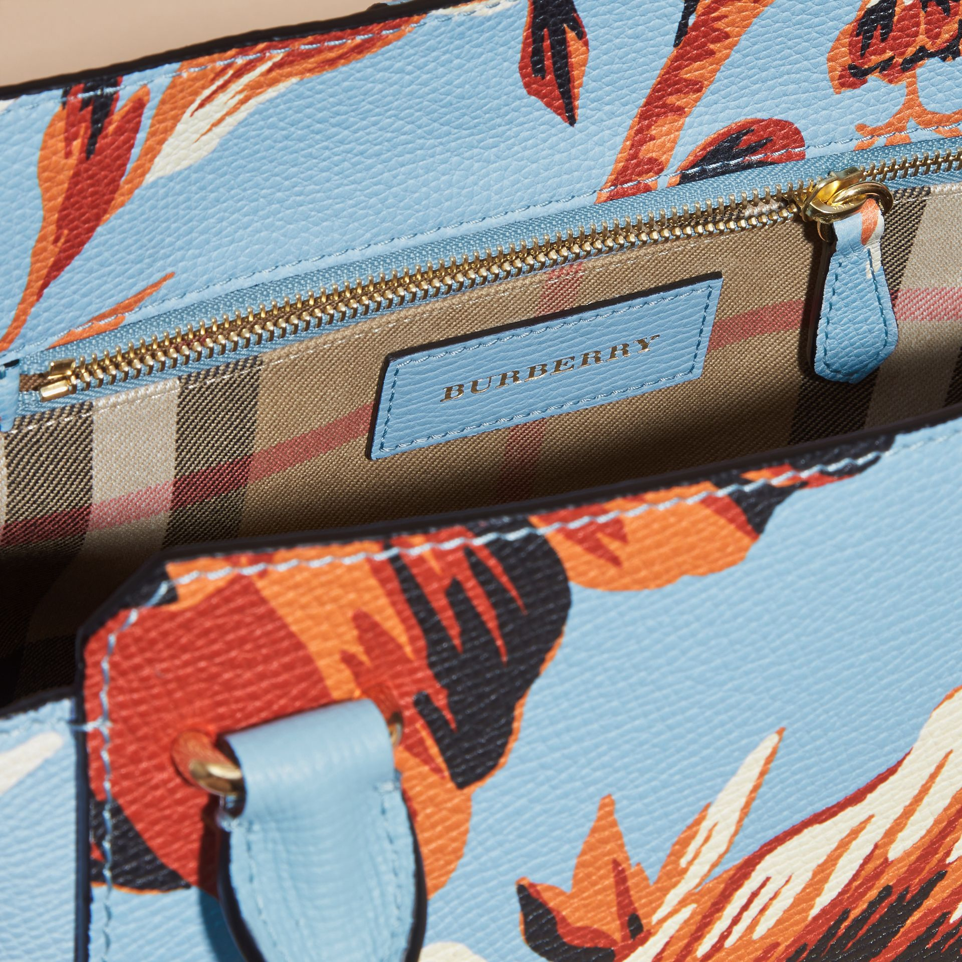 The Medium Buckle Tote in Peony Rose Print Leather in Pale Blue/vibrant Orange - gallery image 6